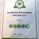 Certificato d'Eccellenza Trip Advisor 2013